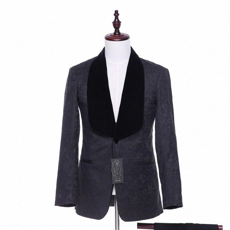 Beiläufige Blazer New Herren Jacke Black Velvet Blumenmuster Blazer Hochzeit Coats Bräutigam Smoking 1 Stück Jackett als Mann Kleidung ZKKL #