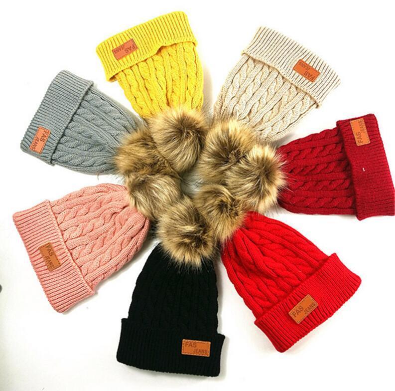 Children Kids Twist Kintting Beanie Hats Winter Warm Crochet Earmuffs Designers Infants Toddler Skull Caps with fur Pom Headwear E101002