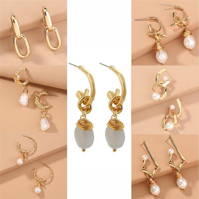 Perle orecchini di pendente placcati oro per le donne casual gioielli vacanze creativo del metallo dell'annata orecchini 7 colori per scegliere