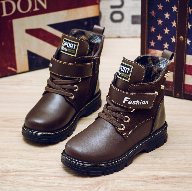 Kızlar Askeri Boys Yeni Gerçek Deri Çocuklar Bilek Sonbahar Kış Dantel-up Kar Çocuk Ayakkabı Motosiklet Boots