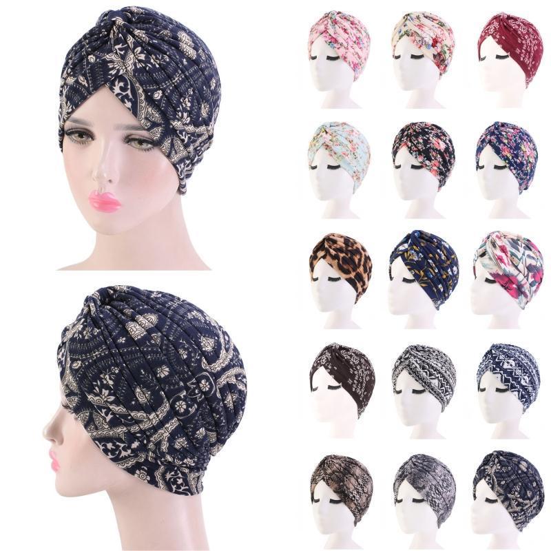 Женщины Хлопок Цветы Печать Тюрбан Бандан сон Cap Headwear Beanie Hat плиссе Химиотерапия рак Bonnet хиджаб Wrap косынка