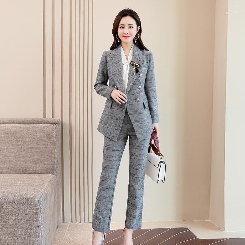 Combinaison Femme 2019 Automne et hiver Nouveau tempérament de mode décontracté mince minceur imprimé sauvage à double boutonnage deux pièces1