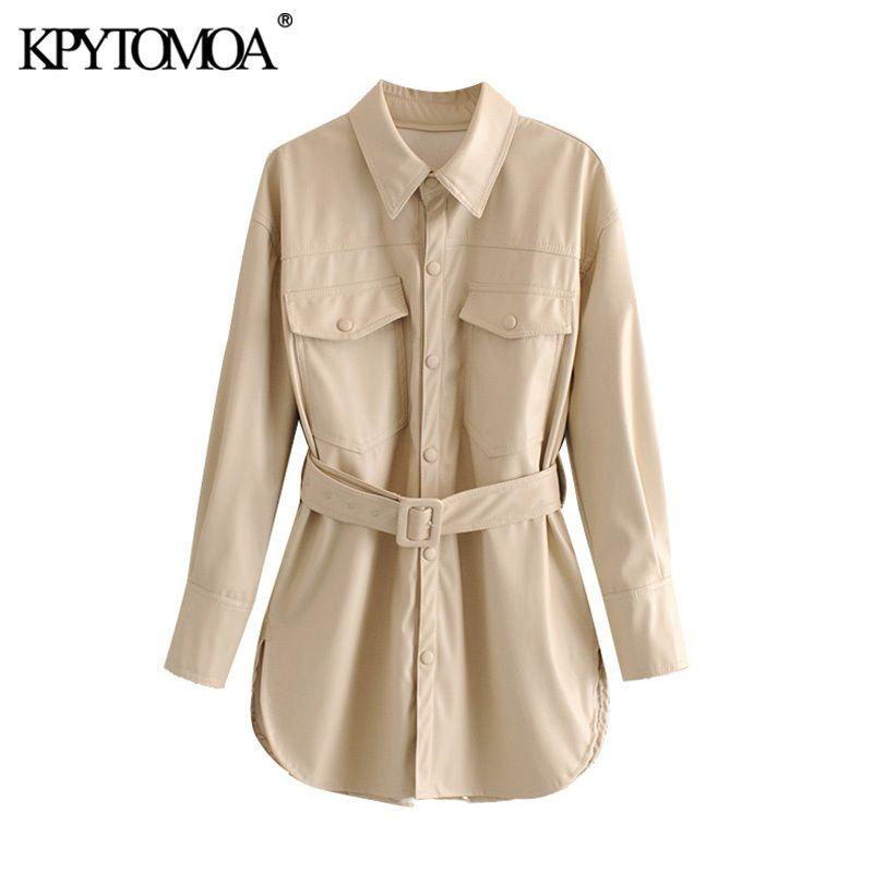 KPYTOMOA Women Fashion PU Faux Leather With Belt Jacket Coat Vintage Long Sleeve Side Vents Female Outerwear Chic Tops 201016