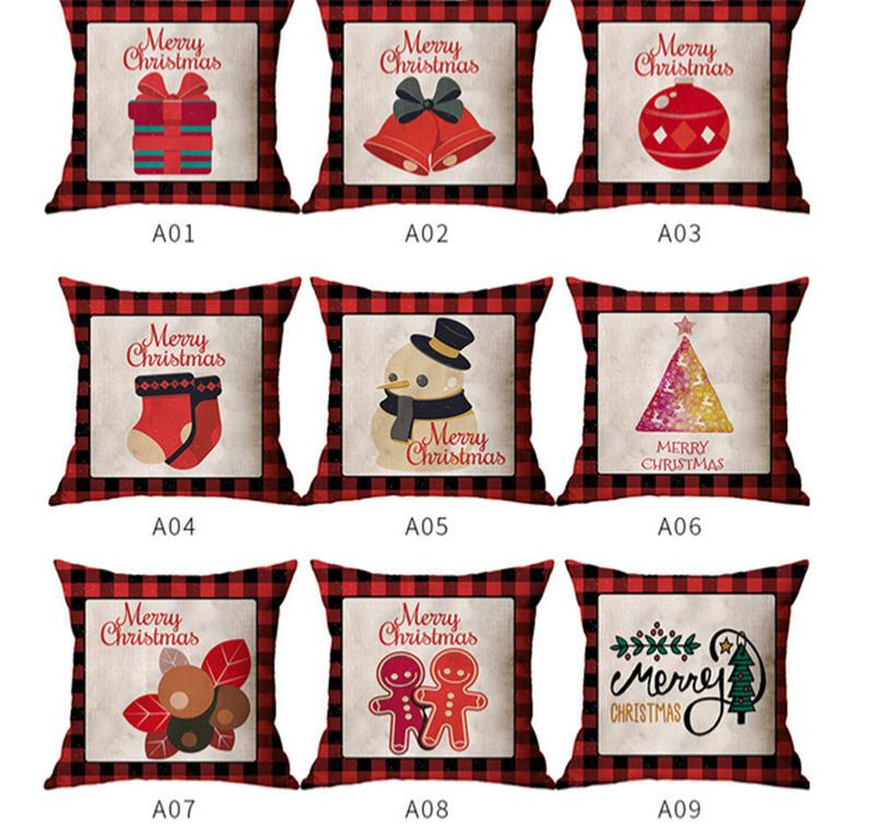 45*45cm Christmas Pillow Case Red Grids Linen Letters Cartoon Pillowcase Xmas Design Throw Pillow Covers Home Decorations Gifts E102602
