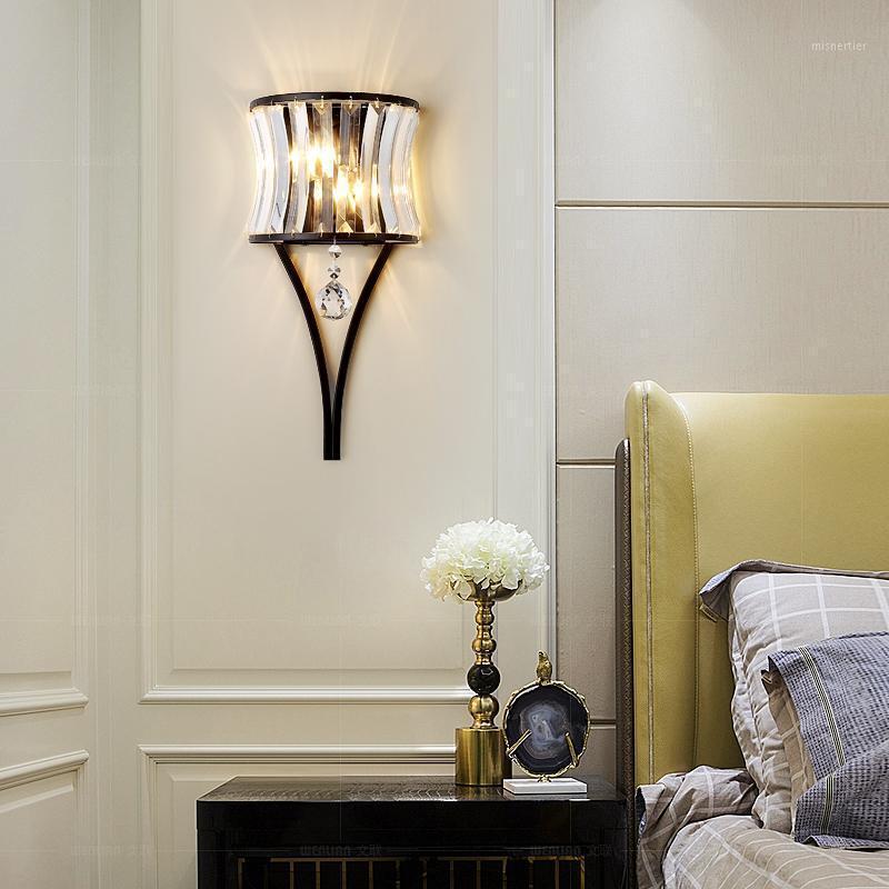 Moderne Dekoration Schlafzimmer Nachttisch-Wandlampen Einfache Gang-Korridor-Treppenhaus sconce Wohnzimmer Hintergrund Wandkristall Lampe1