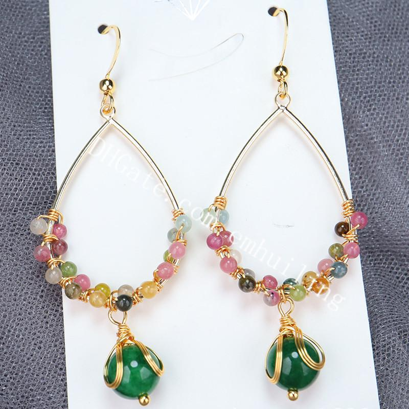 20Pairs Handmade Unique Wire Wrapped Natural Rainbow Tourmaline Gemstone Beads Oval Dangle Earrings 14k Gold Plated Hook Earrings for Women