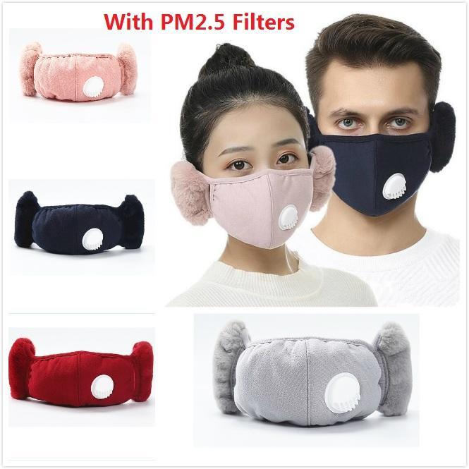 Moda 6 Renkler 2 PM2.5 Kalın ile 1 Yüz Maske Kapak ile Peluş Kulak Koruyucu Maske olarak Ağız Maskesi Kış Ağız-Kül Kış kulaklığı Isınma
