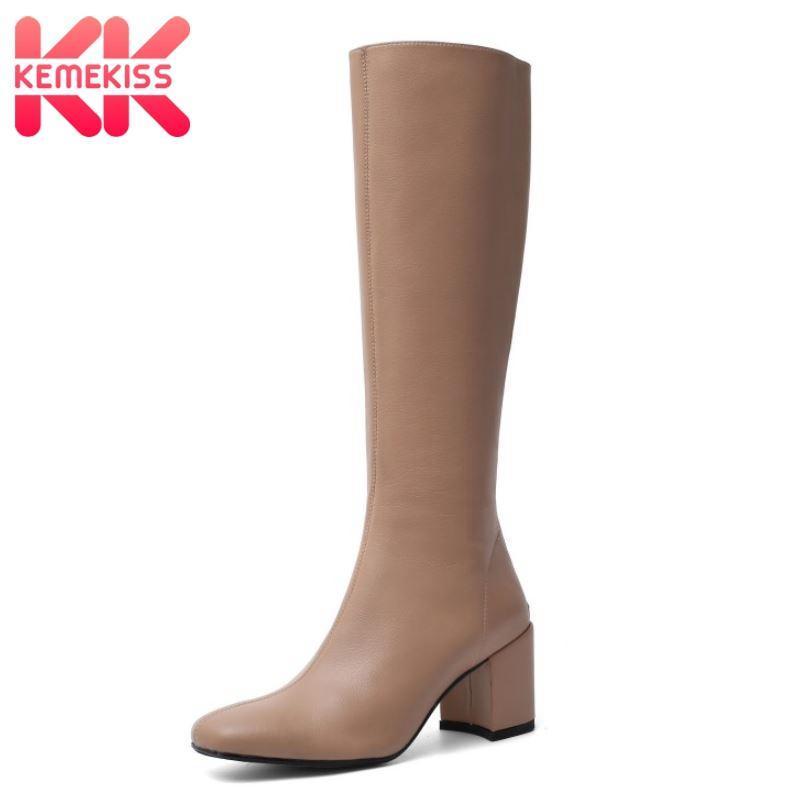 KemeKiss Frauen High Heel Stiefel aus echtem Leder Platz Heel Frau kniehohe Stiefel Mode-Winter-Schuhe Frau Schuhe Größe 34-40