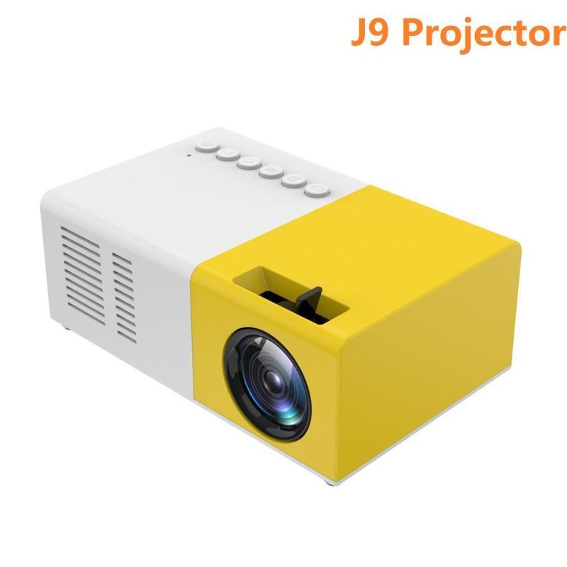 J9 Портативный мини-проектор 1080P Mini Home Projector AV USB SD TF Card USB портативный карманный биркер с телефоном PK YG300