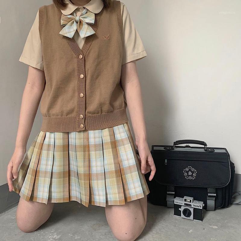 Gonne Giapponese Giapponese Autunno Autunno Inverno Teenager Girl Orthodox JK Uniform Plaid Gonna a vita alta Piegata Mini1