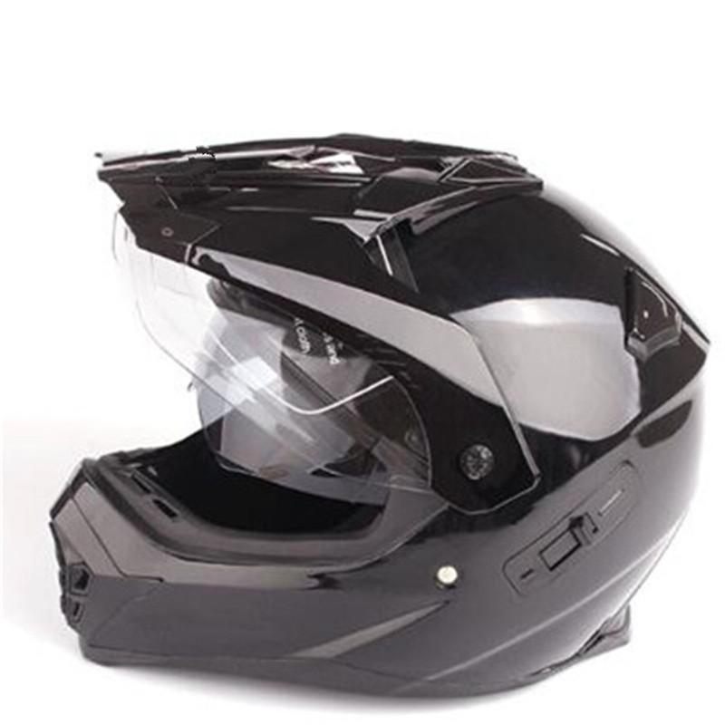 neuer Glanz schwarz Universal-Doppellinse voller Gesicht Motocross Helm Personality Muster Motorradhelm XS S M L XL