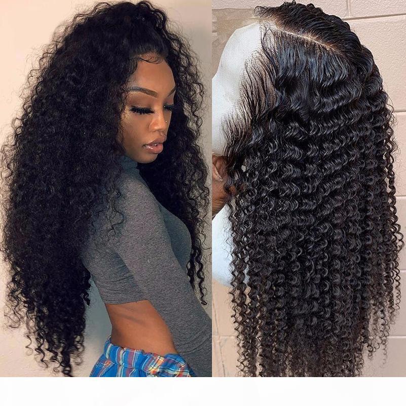 Perucas de cabelo humano frontal de renda 13 * 4 brasileiro peruca de cabelo humano cacheado brasileiro pré-replançado com cabelo bebê Beaudiva Curly Renda frente peruca mais
