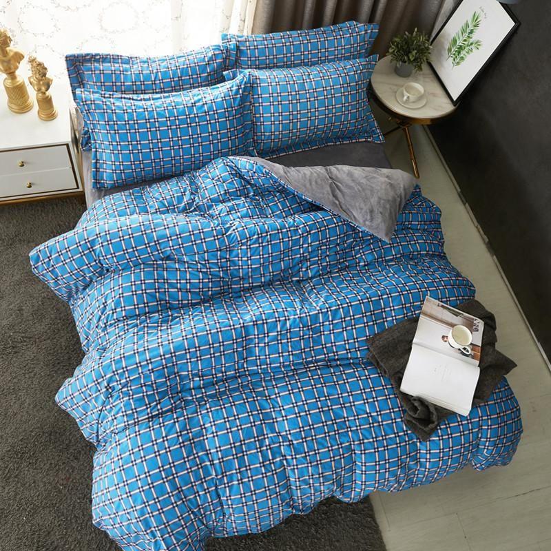 Modern Style Baby Velvet Crystal Velvet Plaid 4pcs Duvet Cover Bed Sheet Pillowcases Royal Blue Light Purple Bean Paste Grey