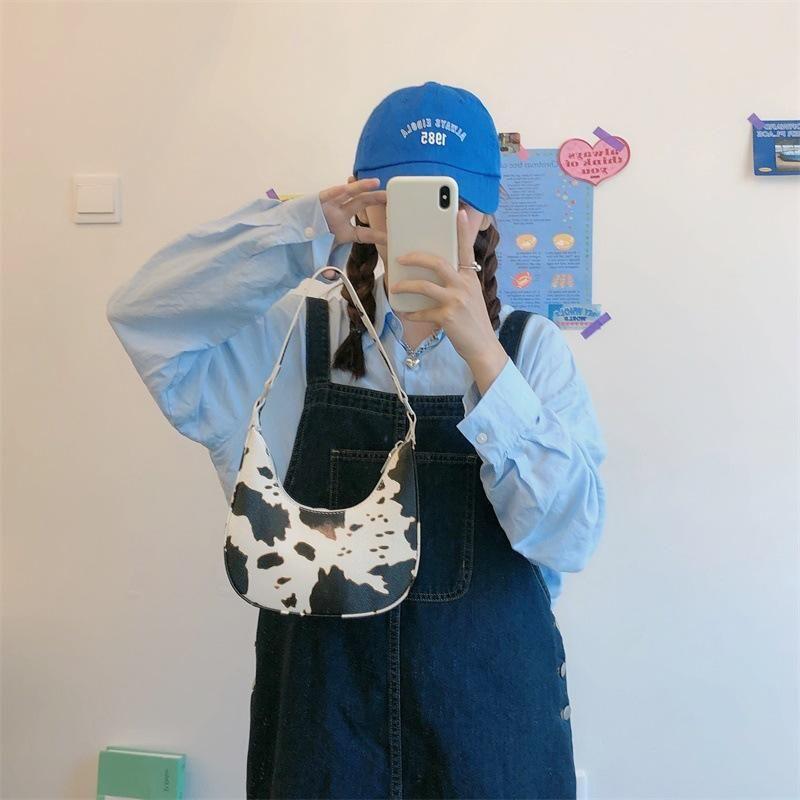 Mujer cadena monedero bolsa luna pu bolsa de moda patrón hombro mini hembra vaca vintage bolsas de cuero medio damas bolsos mensajero fggeki