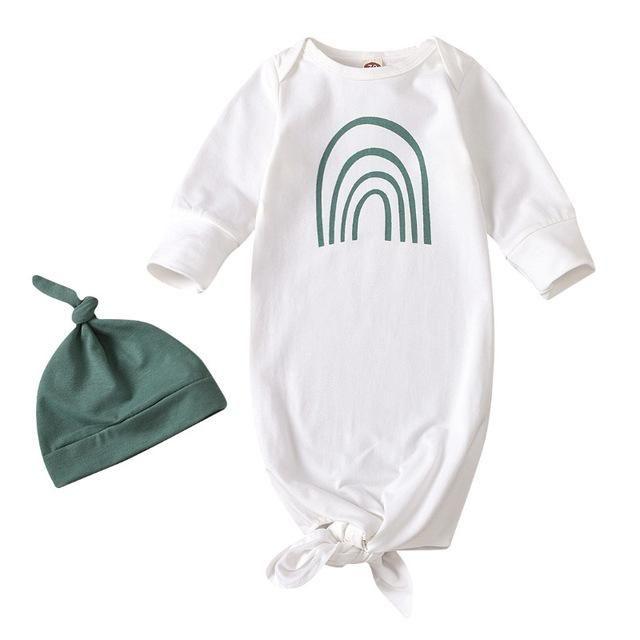 Ensemble de sac de couchage bébé, Spring automne bébé fille garçons garçons dessin animé rainbow impression sac de couchage + kit de chapeau de couleur solide