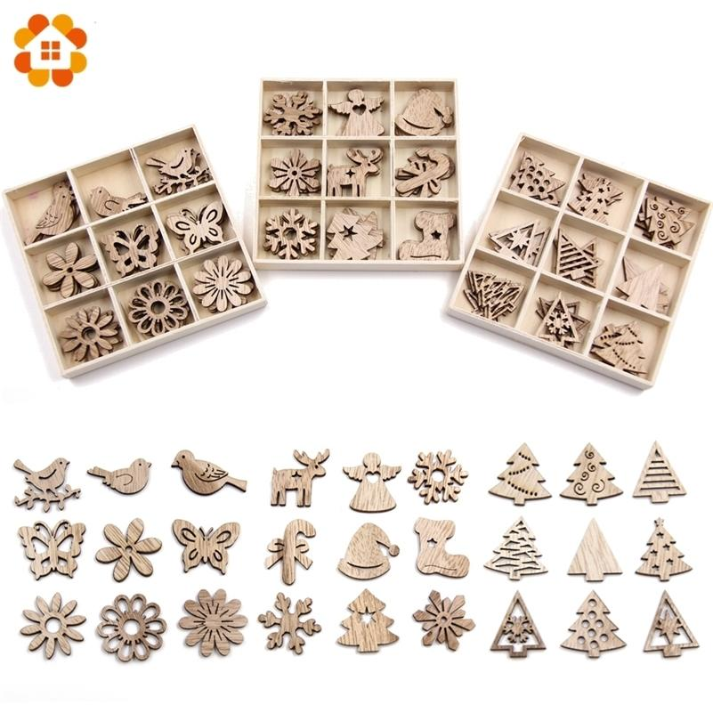 Creative Mini Wood Chips DIY Craft Christmas Wooden Ornaments DIY Scrapbooking Supplies Kids Gift Christmas Party Decorations Y201020