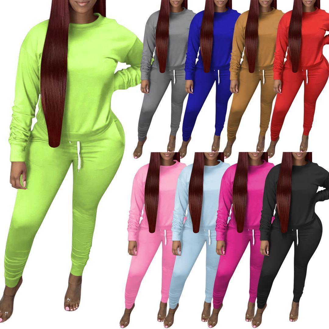 2020 Новый женский костюм 2 Piece Set Мода Solid Color Beam Port термоусадочную Брюки плиссе с длинным рукавом костюмы с дамами Карманы 12 цветов