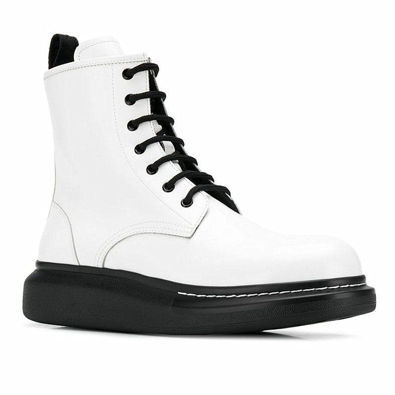 2020 Зимняя обувь Черный Белый Мужские сапоги Платформа Кожа Мужская Мартин сапоги 21 # 26 / 20d50