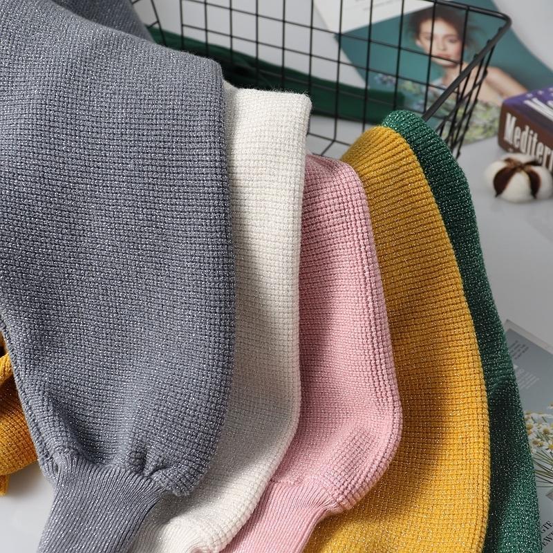 GIGOGOU NUEVO LUREX Glitter V Cuello en V Suéter Otoño Invierno Cálido Jersey Jumper Moda Moda Batwing Manga Suéter Femenino Top LJ201126
