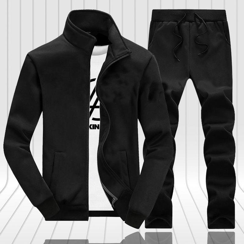 Novos casuais casuais homens outono zíper jaquetas + calças 2 peças conjuntos masculino magro fit sportswear marca moda 2 pcs set sólido masculino 20123