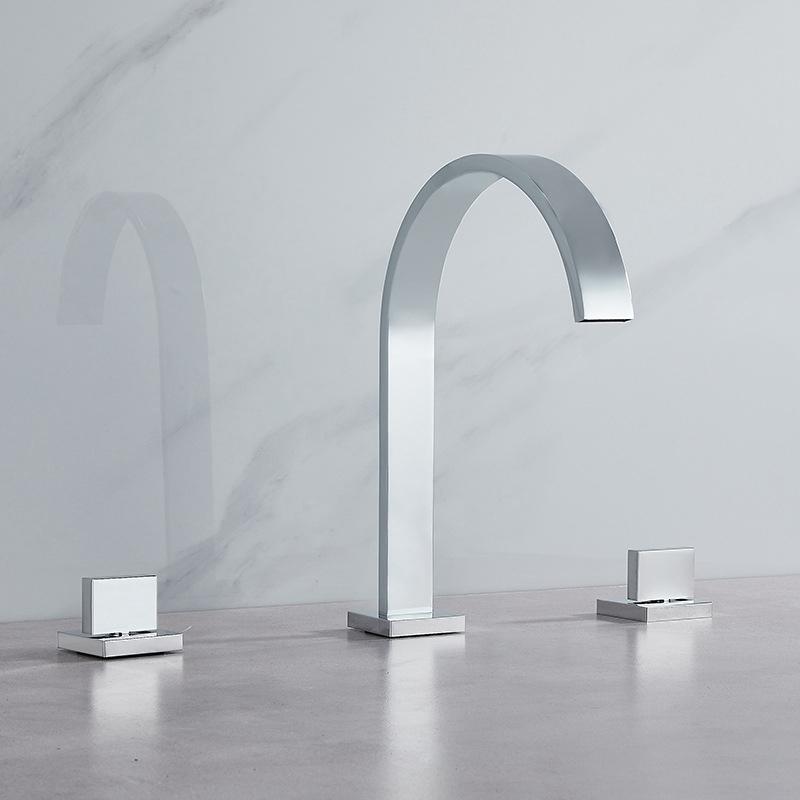 Polierte Hotcold Water Wasserhaarige Küche Spüle Taps Swivel Square Mixer Taps Home Verbesserung Küche Badezimmer Zubehör