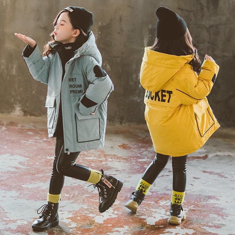 Мода Детская пальто Девочки Зимняя Куртка Для Девочек-подростков Теплый Парки с капюшоном Паркас Хлопок Толстые Густые Длинные Дети Одежда для детей 201127