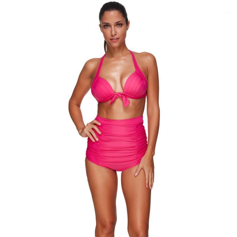 Bikinis Set de cintura alta Traje de baño Cuello Halter Push Up Sexy Bikini Diamante Impreso Azul Mujer Bañador Bañador Suits1