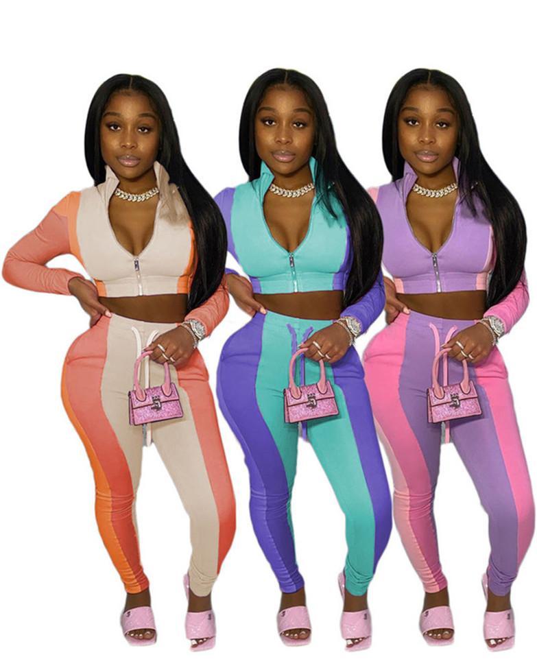 Frauenjacke Hoodie Outfits Langarm Zwei Teile Set Jogging Sportanzug Sweatshirt Strumpfhosen Sportanzug Frauen Tops Hosen Anzug KlW5436