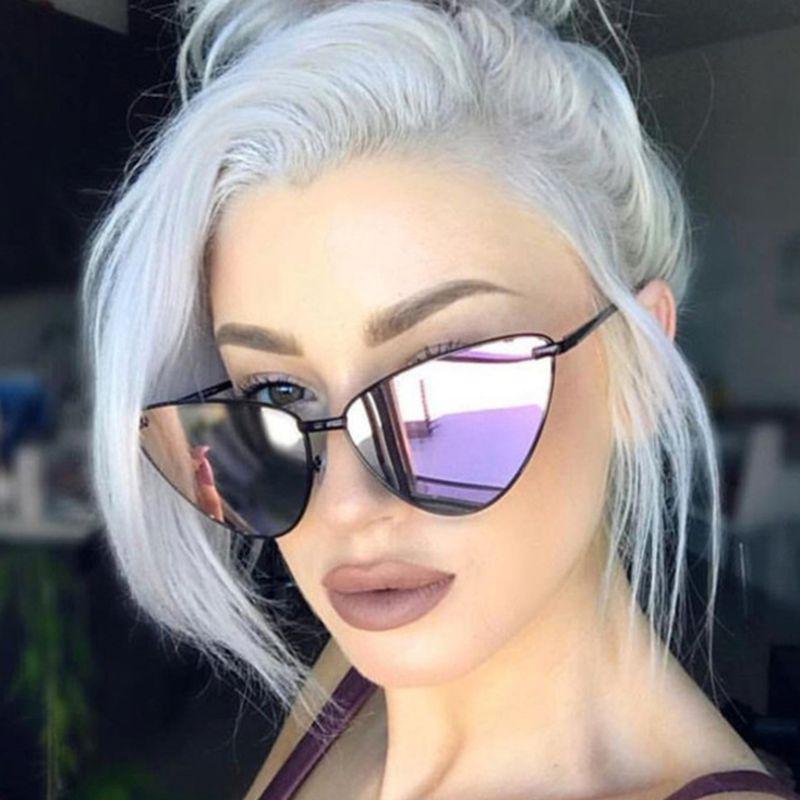 2020 Oversize New Cat Eye Women Gafas de sol Tintado Color Lente Hombres Vintage Forma Gafas de sol Mujer Gafas de sol azul Gafas de sol Marca