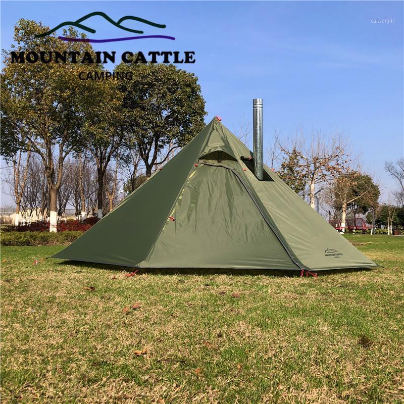 3-4Person Big Pyramid Tente Camping Ultralight Teepacking TeePacking Tente avec des auvents de trous de cheminée abri pour la cuisson de l'observation des oiseaux1