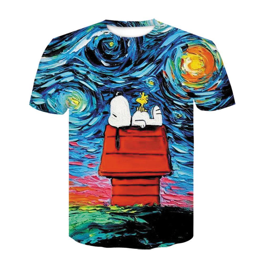 Sommer Cartoon Snoopy Bunte Ölgemälde Muster 3D Digital gedruckt Männer Mode Lustige Nette Freizeit Kurze Ärmeln T-Shirt 1021
