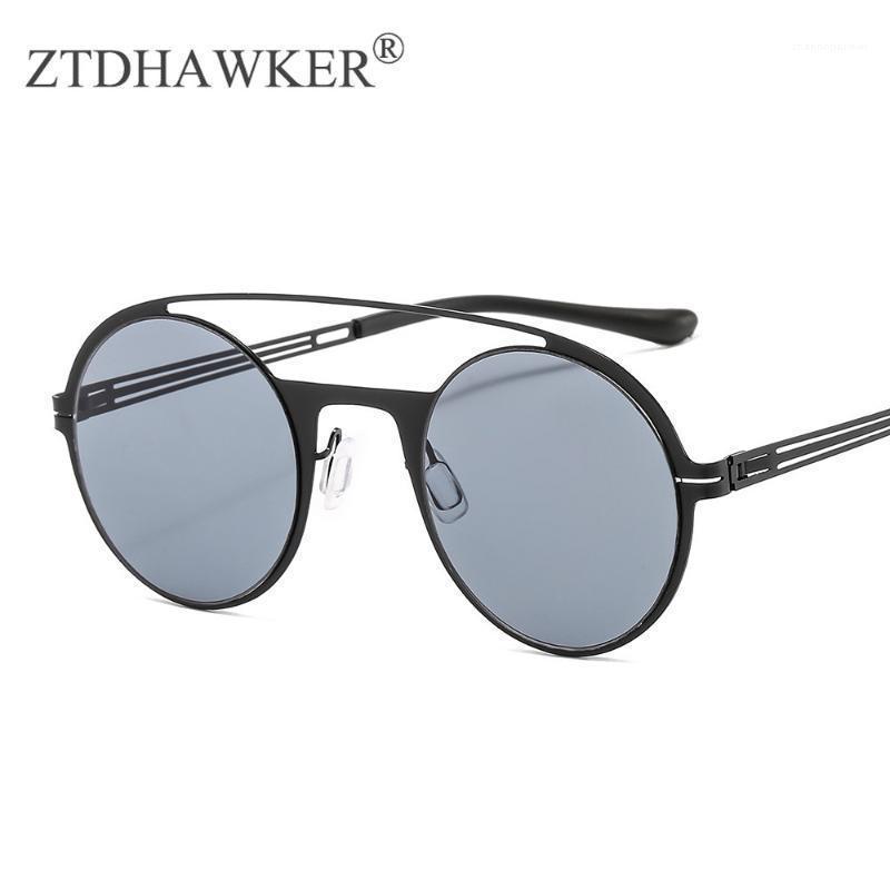 Nuovi uomini e donne moda occhiali rotondi telaio in acciaio inox elastico tempio occhiali da sole personalità1