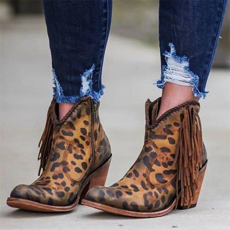 Zapatos de mujer 2020 Fashion Leopard Print Sexy Punta puntiaguda Toe Botas de tobillo resbalón en cremallera Profundo V High Heel Botines Botas Lady Shoes