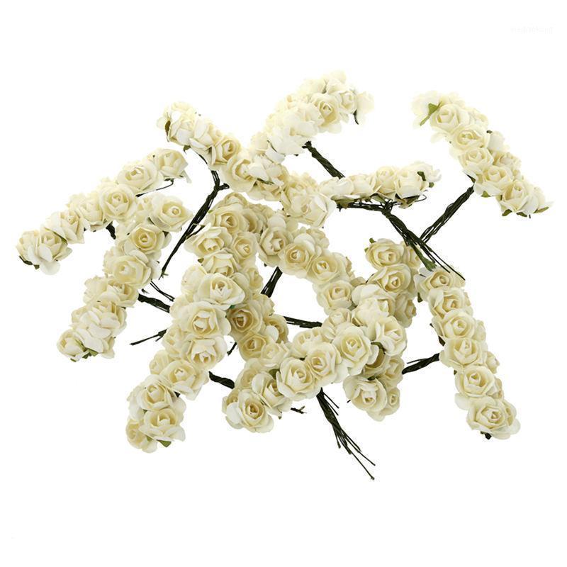 144pcs Mini Papel Petite Papel Artificial Rose Buds Flores DIY Craft Decoración de la boda Home, Ivory1