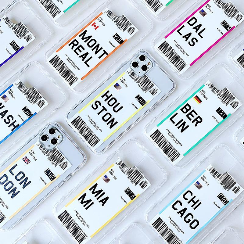 Ins venda quente cartão de embarque design soft tpu case para iphone 12 6 7 8 x xr 11 pro max peso peso à prova de choque