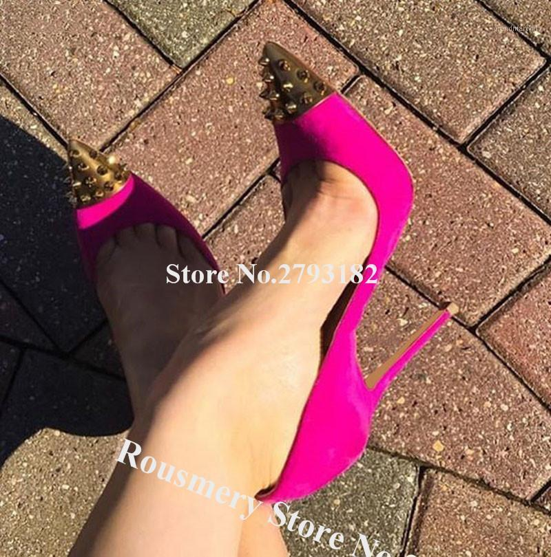 Dress Shoes Brand Design Donne Donne Gold Rivet Pointed Toe Stilotto Pompe tallone in pelle scamosciata in pelle scamosciata nera tacchi alti tacchi alti con tacchi alti1