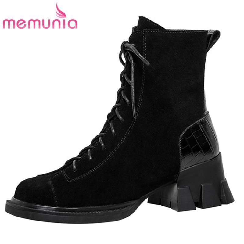 Сапоги Memunia 2021 Снежные Женщины Повседневная Обувь Замшевая Кожа Кружева на молнии Комфортабельная Теплый зимний лодыжку