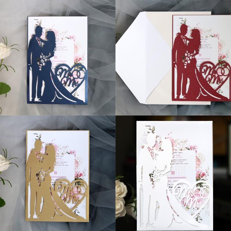 Tarjetas de invitación de boda Tarjeta de felicitación del día de San Valentín Creativo Nuevo Día de San Valentín Hollowing Out Diamonds Invitaciones Fábrica Venta directa 1 5DD P1