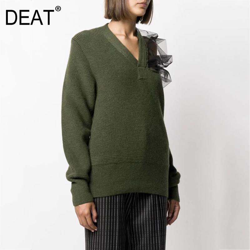 Dout V-образным вырезом Полные рукава вязание сетки лоскутное клавиш, полость от одного плеча пуловерного свитера женские вязаные топ WO39606 мода 210203
