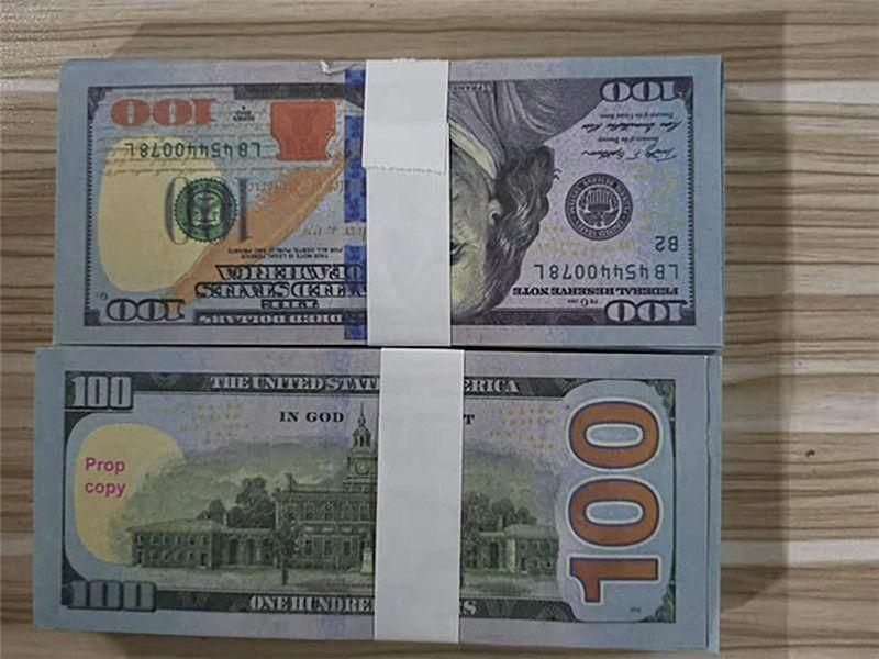 Vente chaude contrefaite Pistolet de pistolet Bar Dollar Banknote 100 Atmosphère Stage Faux Jouer à Money Movie Collection Jouet Nouvelle fête de banque L0129-14 KXNT