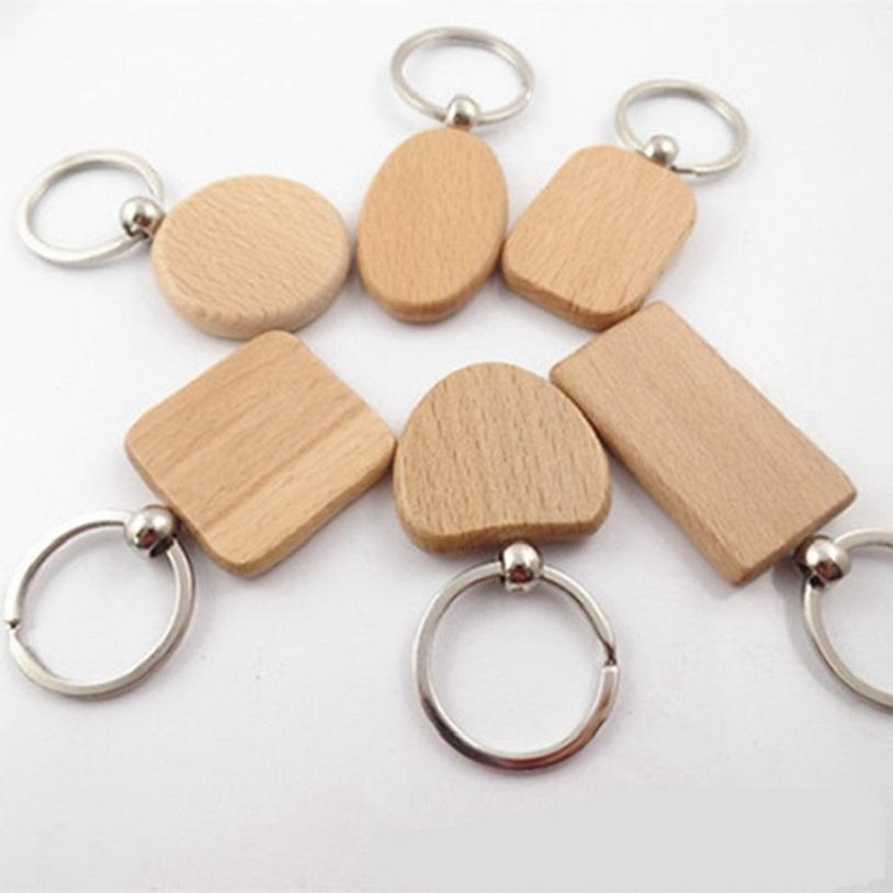 Creative Wooden Keychain Key Chains Round Square Rectangle Shape Blank Wood Key Rings DIY Key Holders Gifts HHA3458