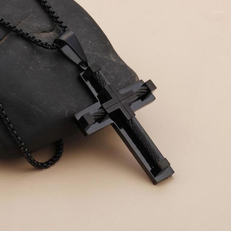 سلاسل الرجال النساء المقاوم للصدأ تويست حبل سلسلة السائق قلادة الهيب هوب مجوهرات الصليب قلادة أسود colar masculino 60cm long1