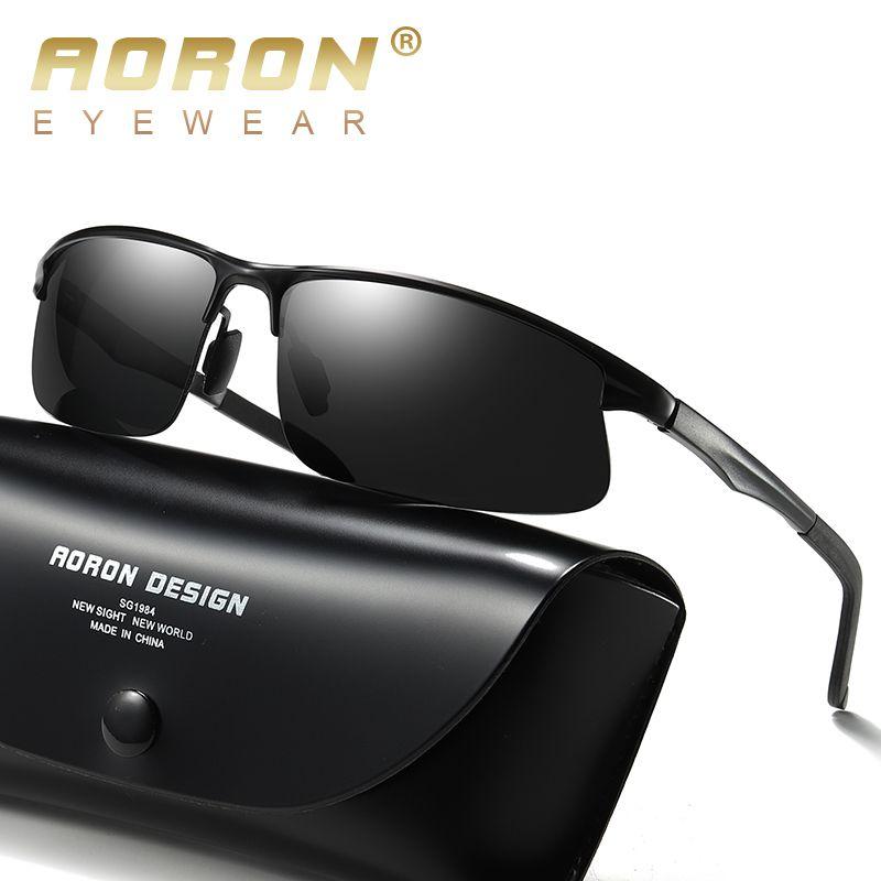 Aoron Herren Polarisierte Sonnenbrille Sport Rechteckgläser Aluminium Magnesiumrahmen UV400 Sonnenbrille Brillen