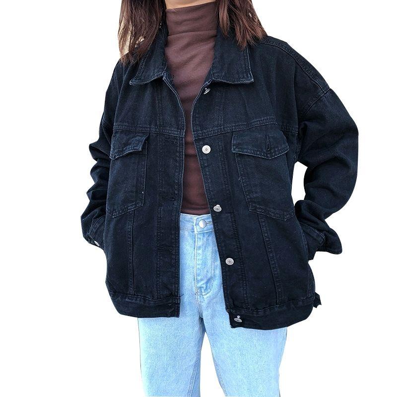 Парень свободно черная джинсовая куртка женское пальто 2019 весна осенью новая случайная негабаритная джинсовая куртка женская одежда весов femme y200101