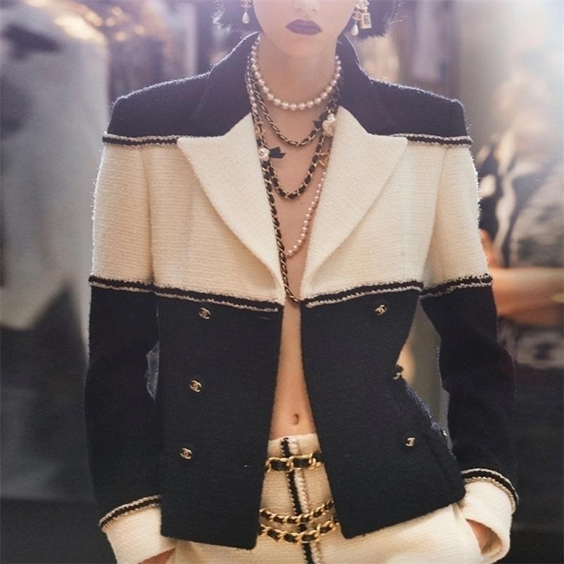 Mulheres lã dupla breated blazer outono inverno colorblock high streat blazer casaco excelente qualidade 201114