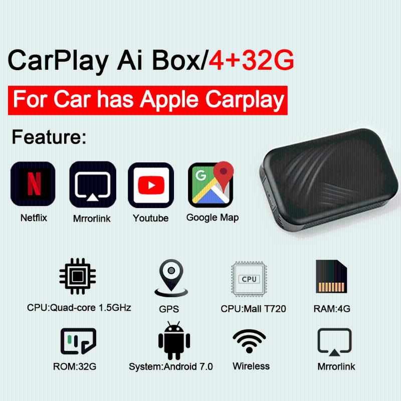 Carplay USB Smart AI Android Box Car Multimedia Player Sistema de Android Nueva actualización 4 + 32G Link inalámbrico enlace Carplay TV Caja DVD