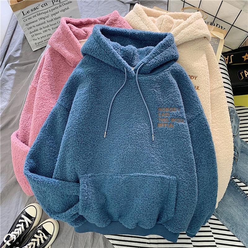 Abrigo de invierno otoño dulce rosado con capucha de impresión Lo sentimos Harajuku bolsillo suelto sudaderas con capucha para mujer de paño grueso y suave del suéter femenino de la camiseta de franela
