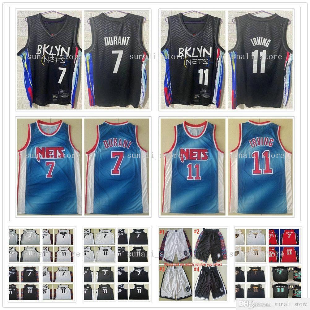 Cosido 2021 hombres niños juventud 11 kyrie kevin 7 durant jerseys nueva ciudad camisetas de baloncesto negro gratis envío rápido