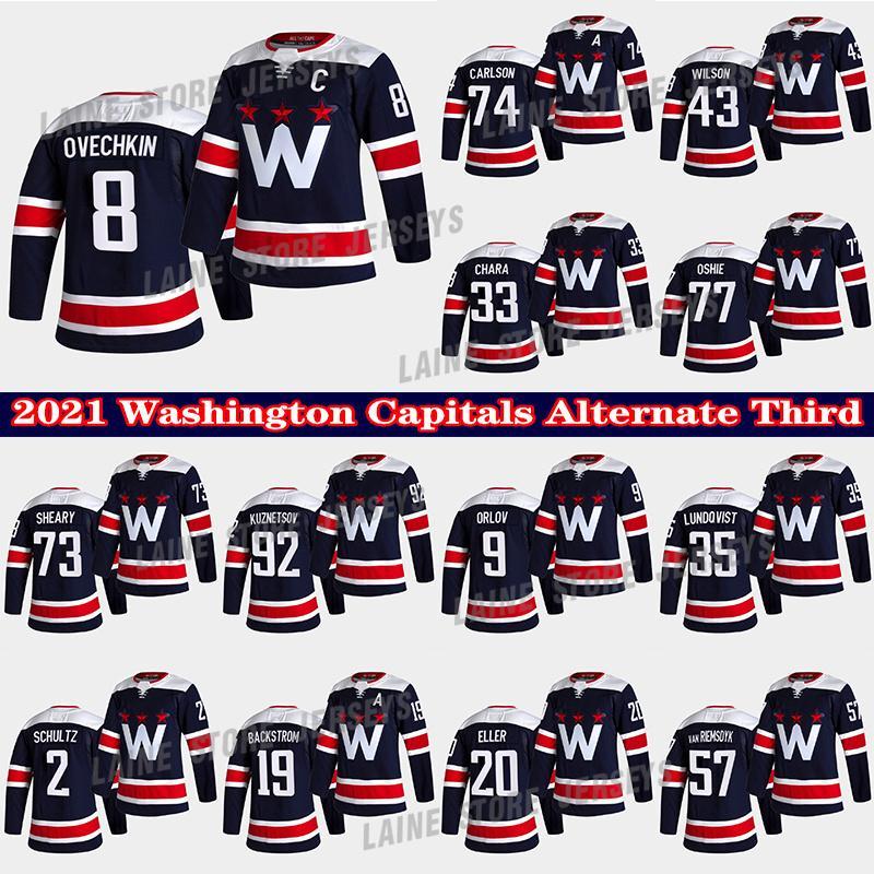 Washington Capitals Jersey Alternatives Dritter 8 Alex Ovechkin 19 Backstrom 77 TJ Oshie 43 Tom Wilson 74 John Carlson 33 Chara Hockey Trikots