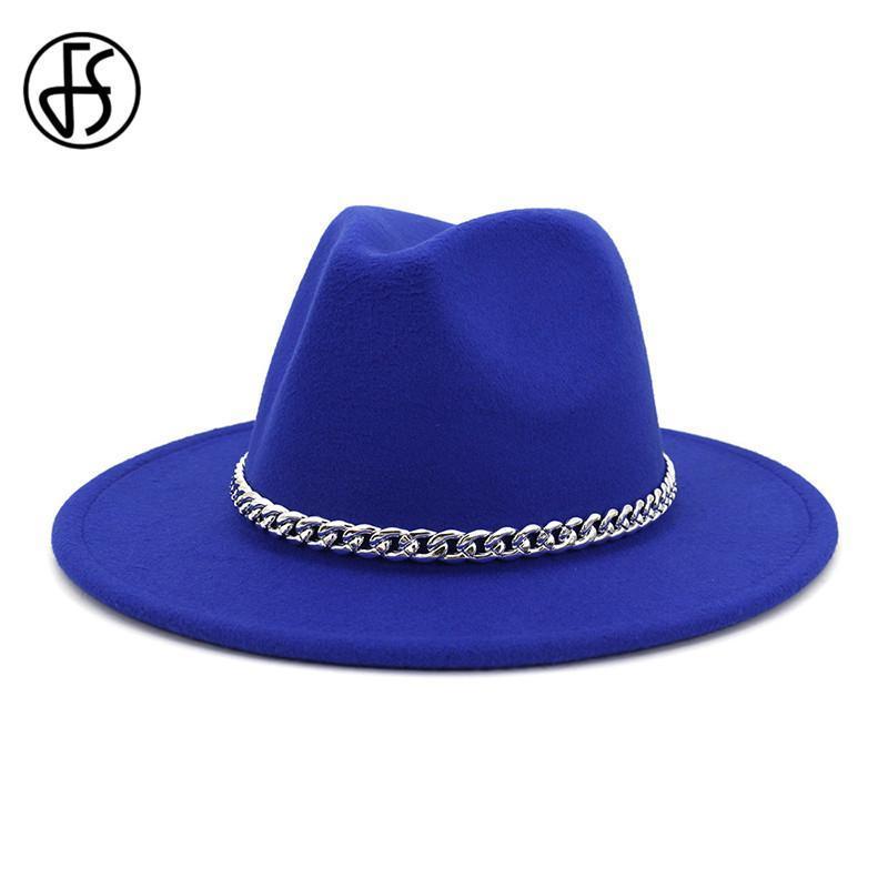 FS Frauen Fedora Wollhut Herbst-Winter-Gentleman Triby Filzhüte für Männer Fashion Royal Blue Yellow Jazz Kappen mit Kette
